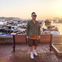 Mannix Lo - Midwest Vintage Military Jacket, Zara Tee, Vintage Cargo Shorts, Vans Vault Cut And Paste Sk8 Hi Sneakers - Beautiful minds inspire others