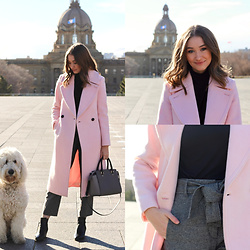 Taylor Doucette - Club Monaco Long Wool Daylina Coat, Aritzia Black Turtleneck, Aritzia Plaid Pants, Sam Edelman Black Boots - Lifeguard - Scott Helman