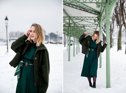 Giseleisnerdy L - Mango Coat, Zara Dress - Giseleisnerdy.fr - green on snow