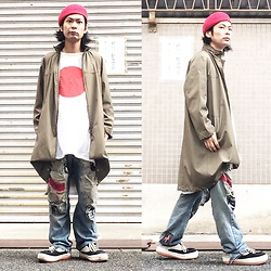 @KiD - Ca4la Red Beret, Vintage Coat, Taufe Rising Sun, Lee Diy Jeans, Northwave Espresso - JapaneseTrash461