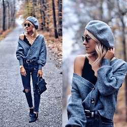 Lauren - Nordstrom Gray Beret, Topshop Cardigan Sweater, Levi's Distressed Jeans, Chinese Laundry Black Booties, Hammitt Black Handbag, B Low The Belt Western - Casual Gray Layers for Fall
