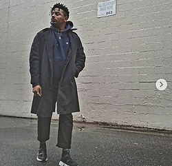 Jason - Zara Sock Trainers, Forever 21 Cargo Pants, Goodwill Trench Coat, Champion Navy Hoodie - Active Wear