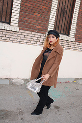 Yuka I. - Tee, Black Jeans, Max Mara Coat, Boots, Hat, Beaded Bag - Teddy coat