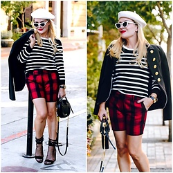 Zia Domic - Cece By Cynthia Steffe Striped Sweater, Lindsay Nicholas Ny Plaid Shorts - Plaid & Stripes
