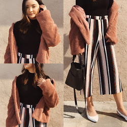 Haley D. - Zara Black Rib Long Sleeve Top, 14th & Union Faux Shearling Jacket, Missguided Pleated Striped Bottoms, Louise Et Cie Slingback Flats, Allsaints Bag - PINK