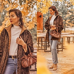 Natasha Karpova - Vintage Faux Fur Jacket, Zara Ankle Boots, Vintage Bag, Mango Belt, Guess Jeans, Incity White Turtleneck, Accessorize Earrings - VINTAGE CHIC