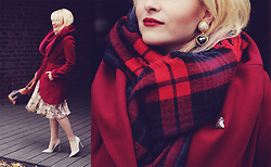 Anca Varsandan - Shein Coat, Louis Vuitton Bag, Pull & Bear Plaid Scarf, Dorothy Perkins Heels - Red For Christmas