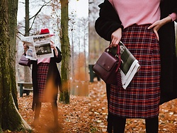 Andreea Birsan - Midi Tartan Skirt, Pink Wool Turtleneck Sweater, Burgundy Bag, Black Teddy Coat, Sock Over The Knee Boots, Red Fedora Hat - The secret trick to wear midi skirts with otk boots