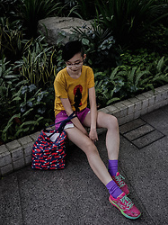 Ren Rong - Owndays Glasses, Hellothisisangle T Shirt, Forever 21 Denim Shorts, We Love Colors Socks, Skechers Trainers - Casual Colours