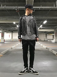 ★masaki★ - H&M Military Cap, Vintage Leather Jacket, R13 Denim Xover, Vans Sk8hi - Simple Style