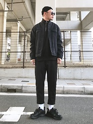★masaki★ - Obey Beanie, Neuw Denim Jacket, Bershka Sweater, Ch. Striped Trousers, Nike Air Monarch - Fav jacket