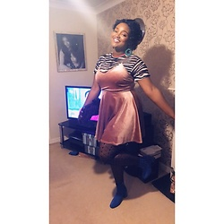 Chevonne Clay - New Look Pink Skater Dress With Subtle Gold Shimmering, New Look Zebra Print Crop, Primark Fishnet Tights, Tk Maxx Burgundy Clutch, Primark Silver Studded Ankle Boots, New Look Green Hoop Earrings - Colour Clashing Unapologetically