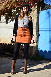 Elisabeth Green - Bershka Blouse, Mango Blazer, Stradivarius Boots - Orange and Plaid
