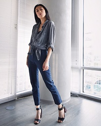 Gi Shieh - H&M Grey Button Down, Gap Navy Slacks, Steve Madden Black Sandals - It hit 70 degrees this past weekend!