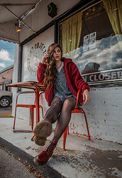 Indiefoxx - Motel Rocks Floral Dress, Dr Martens Boots, Princess Polly Faux Fur Coat - Fond Objects