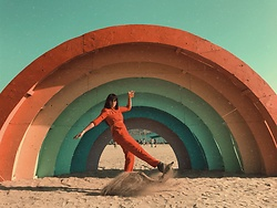 Ali D - The Cactus Collective Vintage Red Jumpsuit - Desert Rainbows