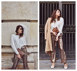Enrica Scielzo - Je Suis Le Fleur Sweater, Zara Earrings, No Logo Turtle Clutch, Imperial Fashion Sequined Golden Pants, Imperial Fashion Classic Camel Coat, Asos Kitten Heel Retro Shoes - HOW TO WEAR SEQUINS FOR DAYTIME