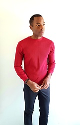 Thomas G - Urban Pipeline Longsleeve, United Colors Of Benetton Dress Pants, Cross Bracelet - Red Shirt w/ Dress Pants