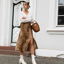 Catherine V. - Pimkie Cardigan, Zara Silk Skirt, H&M White Boots, Hers Wave Straw Basket - THE LEOPARD SKIRT YOU NEED IN YOUR CLOSET