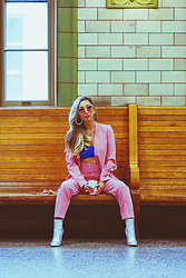 Eliza Romero - Missguided Pink Suit Jacket, Missguided Pink Belted Suit Trousers, Asos Blue Bandeau, Asos Silver Metallic Ankle Boots - The Bmore Creatives