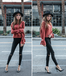 Jenny Mehlmann - Forever 21 Sweater, Zara Black Skinny Jeans, Jimmy Choo Patent Leather Pumps, Urban Outfitters Black Felt Rancher Hat - BURNT ORANGE // thehungarianbrunette.com