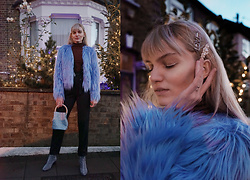 Carla V - Shein Faux Fur Coat, Shein High Waisted Trousers - Blue is the warmest colour