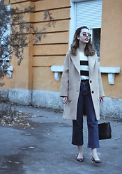 Jelena - Zara Camel Coat, Terranova Striped Sweater, Ray Ban Round Metal Sunglasses, Sam Edelman Pointy Slingback Shoes - Oversized camel coat