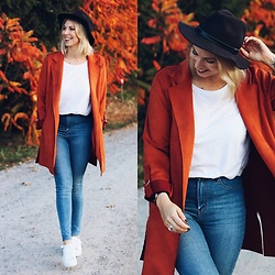 Lavie Deboite - Blazer, Shirt, Skinnyjeans, Sneaker - Orange Blazer