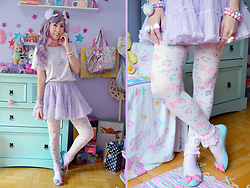 Luly Pastel Cubes - Melissa Flat, Spank! Tights, Sanrio Dress - Hey