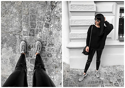 Izabela - Nike Airmax, Calzedonia Latex Pants, Christian Dior Abstract Sunnies, The Odder Side Cosy Sweater, Zofia Chylak Bucket Bag - LATEX PANTS + NIKEAIRMAX + SWEATER
