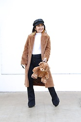 Kristen Tanabe - Forever 21 Teddy Coat, Forever 21 Long Sleeve Turtleneck Top, Refugee Black High Waisted Jeans, Forever 21 Platform Heels, Diy Teddy Bear Backpack, H&Moschino Gold Peace Earrings, Brixton Black Baker Boy Hat - Twinning with Benny the Teddy