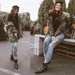 Shelly Stuckman - Restricted Shoes Besties, Guess Denim, Guess Cut Out Sweater, Brixton Hat, Zara Jacket - Tree Shopping