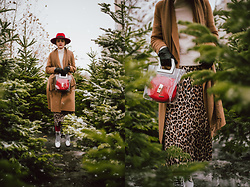 Andreea Birsan - Red Fedora Hat, Camel Coat, Scarf, Gloves, Cashmere Turtleneck Sweater, Pleated Animal Print Skirt, White Leather Boots, Transparent Tote Bag, Red Shoulder Bag - Flying somewhere warmer