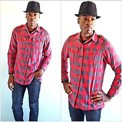 Thomas G - Faded Glory Fedora, Gap Button Down Flannel Gingham Plaid, Levi's 511 Strauss & Co, Cross Bracelet - Fedora + Gingham Plaid + Jeans