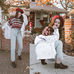 Shelly Stuckman - Revere Shoes Boots, Topshop Denim, Vintage Similar Sweater, Vintage Similar Jacket, Earthbound Trading Co Beret - Winter Holiday