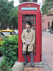 FL JU - Esprit Trench Coat, Club Room V Jumper, Muji Shirts - Capturing the fall trench coat style of Taipei