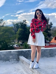 Karen Cardiel - H&M Ugly Sweater, Must Concept Store Leather White Mini Skirt, Urban Outfitters Fila Disruptor 2, Must Concept Store Pearl Fishnet Socks, Must Concept Store Pearl Sunglasses - ALL I WANT 4 XMAS IS YOU ♥️🎄⛄️🍪✨