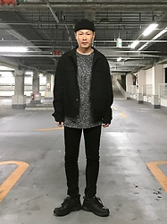 ★masaki★ - H&M Self Remaked Oversized Denim, Bershka Skinnyjeans, Nike Air Monarch - Simple Fits