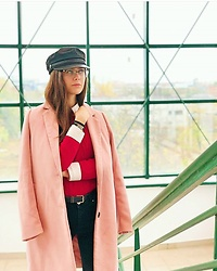 Deborah B - Orsay Hat, Guess Eyeglasses, Stradivarius Coat - Pink&Red