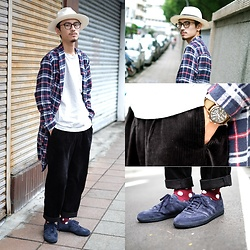 John Kuo - 7ds Flannel Bathrobe, Ecua Andino Hat Panama, Timex Military Watch, Global Work Corduroy Pants, Adidas Samba - You're perfect just the way you are
