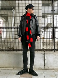 ★masaki★ - H&M Maline Cap, Ch. Leather Jacket, Neuw Denim Skinny Jeans, Dr. Martens Loafers, My Treasure Scarf - My Treasure