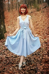 Bleu Avenue - Unique Vintage Light Blue Patchwork Patterns Lorna Swing Dress - Smitten Kitten
