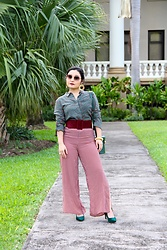 "Kristen Tanabe - Forever 21 Green Printed Button Down Blouse, Forever 21 High Waisted Houndstooth Pants, Forever 21 Green Velvet Pointed Pumps, Forever 21 Faux Suede Burgundy Belt, Street Level Structured Purse, Dvf Aviator Sunglasses, Kitsch Gold Circle Earrings - ""Christmassy"" All Year Round"