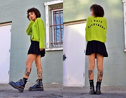 Raven R. - Lazy Oaf Cardigan, Charlotte Russe Black Dress, Dr. Martens Jadon Boots - I Hate Everybody