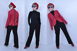 Suzi West - Estate Sale Vintage French Beret, Best Dressed Dame Sunglasses, Rocket Studio Art Abstract Earrings, Liz Claiborne Tartan Blazer, Talbots Mock Turtleneck, Banana Republic Trousers, Born Concepts Red Booties - 15 November 2017