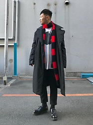 ★masaki★ - Komakino Oversized Coat, Ssnmrkrn Limited Art Tee, Ch. Trousers, Dr. Martens Made In England - Thnx a lot 2018