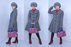 Suzi West - That Poor Girl Vintage Beret, Suzi West Model Earrings, Thrift Store Vintage Scarf, Express Princess Coat, Harajuku Lovers Purse, Merona Tights, Born Concepts Booties - 26 November 2017