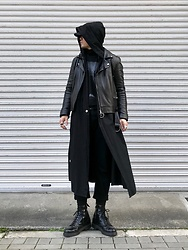 ★masaki★ - Ssnmrkrn Artisanal Military Coat, Ch. Leather Jacket, Dr. Martens Mono - Black Style