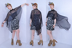 Suzi West - Sharla Tv Custom Wearable Art Headpiece, Suzi West Model Barbie Arm Earrings, The Way We Were Vintage Nylon Care, Gap Silk Dress, Estate Sale Vintage Bracelets, Jeffrey Campbell Shoes Lita Boots - 12 May 2018