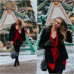 Madara L - Shein Red Waterfall Jacket, Shein Black Quilted Bag - Winter date night outfit